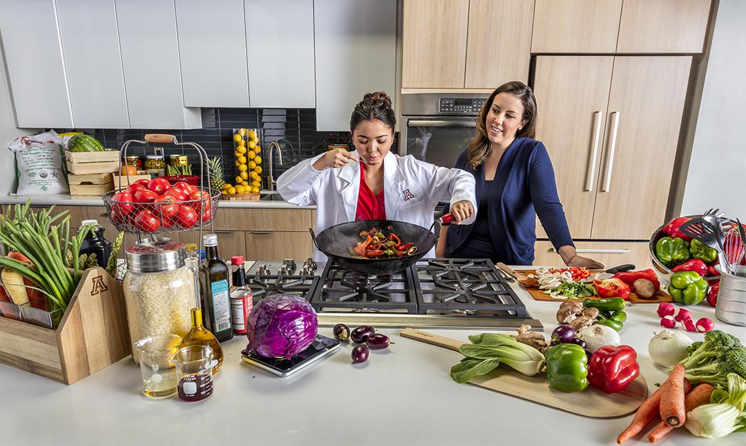 Nutritional sciences students preparing food