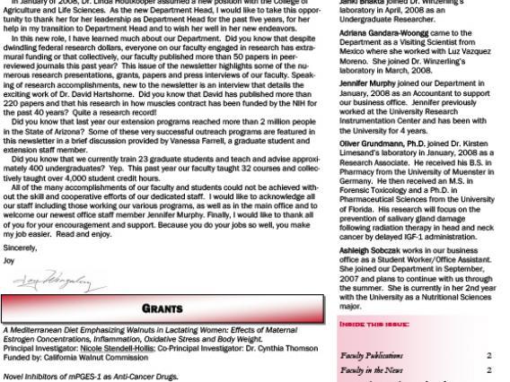 Spring 2008 Newsletter