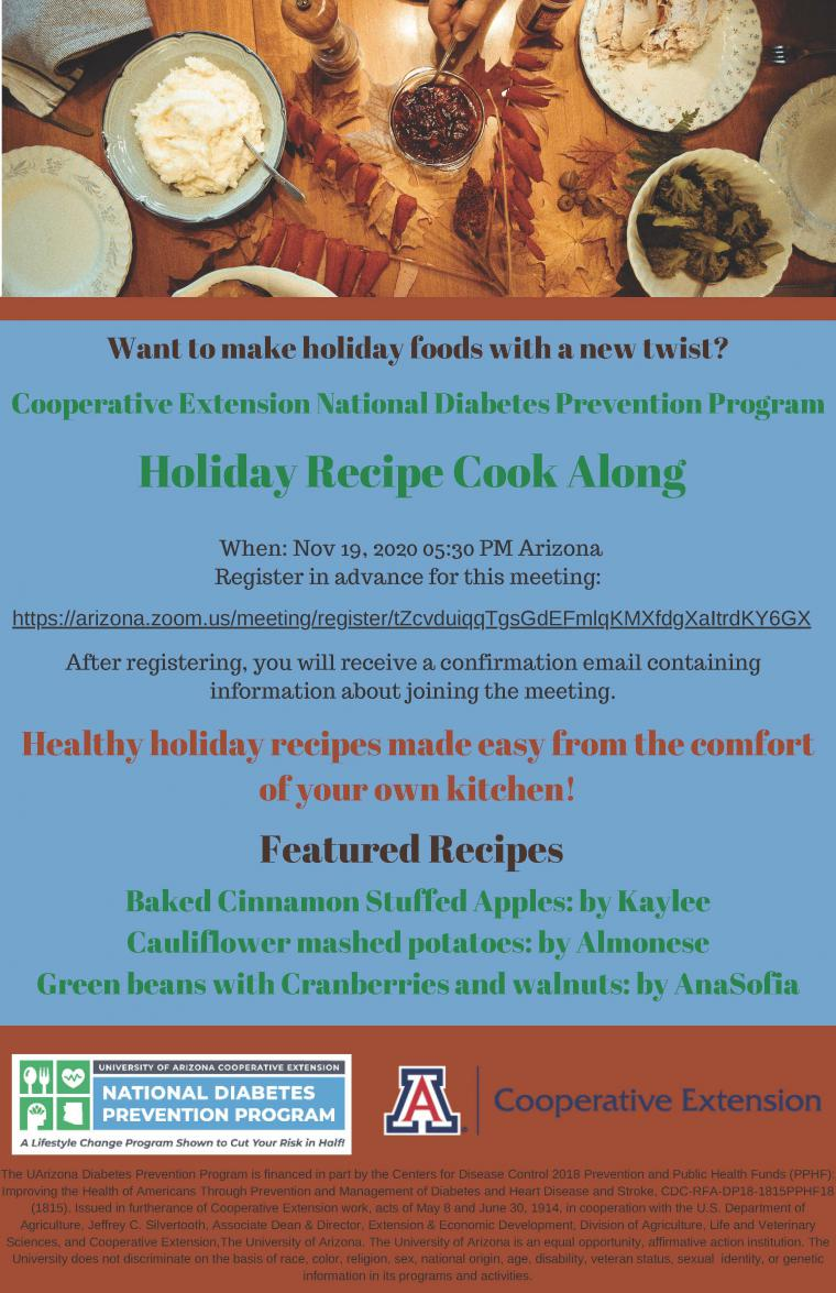 Flyer for Holiday Recipe Cook Along Event
